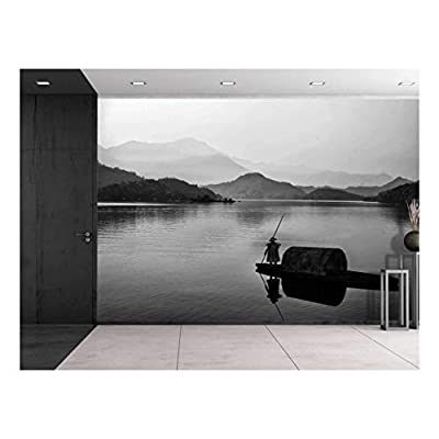 Wonderful Craft, Professional Creation, Black and White Canoe with a Man Rowing Down a Lake Towards The Mountains Wall Mural