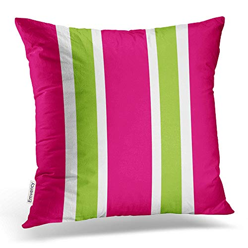 (Emvency Throw Pillow Covers Chic Pretty Hot Pink Green Stripes Pillowcases Polyester 18 X 18 Inch Square With Hidden Zipper Home Sofa Cushion Decorative Pillowcase)