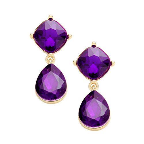 - Rosemarie Collections Women's Glass Crystal Teardrop Dangle Earrings (Purple)