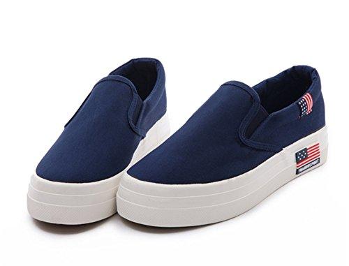 Chfso Dames Casual Laag Uitgesneden Ronde Neus En Loafers Sneakers Schoenen Blauw