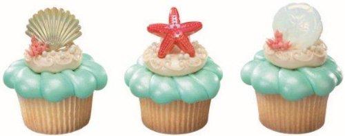 Beach Seashell Sand Dollar and Starfish Cupcake Rings - 24 c