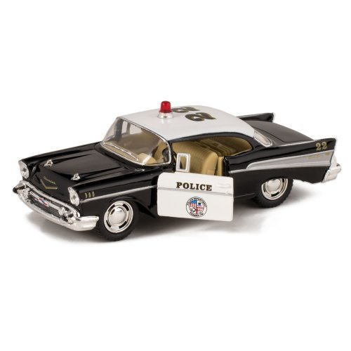 1957-Bel-Air-Die-Cast-Police-Car-Toy-with-Pull-Back-Action