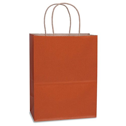 Gift Bags 8x4.75x10.5 100Pcs BagDream Orange Stripe Gift Bags,Cub, Shopping Bags, Kraft Bags, Retail Bags, Paper Bags with Handles, Craft Bag, 100% Recyclable Paper by BagDream