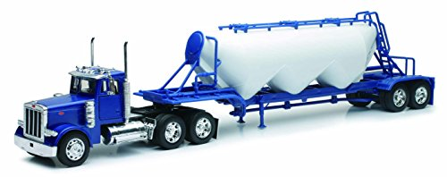 Peterbilt Tractor Trailer Diecast Toy - NewRay 1:32 Scale, Peterbilt Model 379 Pneumatic Dry Bulk Trailer, Diecast Model