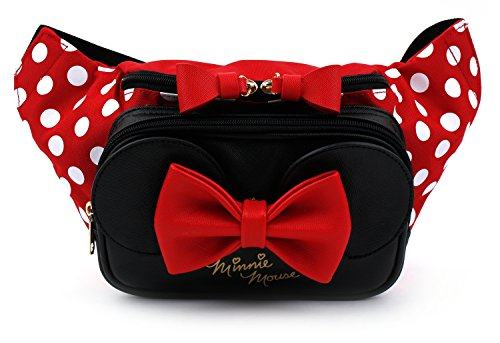 Disney Minnie Mouse Ribbon HipSack Waist Pack Fanny Sling Bag for Man Women Lady Girl Teens (Red) (Disney Stuff Women)