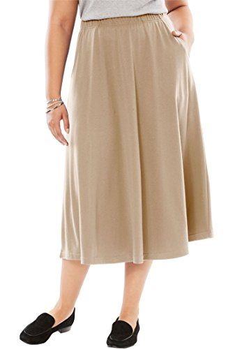 Women's Plus Size 7-Day Knit A-Line Skirt New Khaki,M by Woman Within