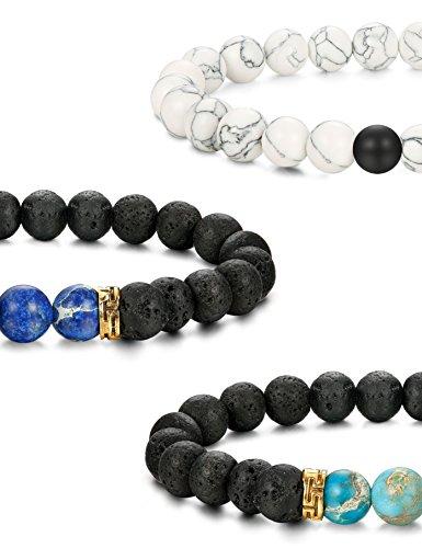 FUNRUN JEWELRY 6PCS Bead Bracelets for Men Women Natural Stone Mala Bracelet (E: 6 PCS Style 4) by FUNRUN JEWELRY (Image #2)