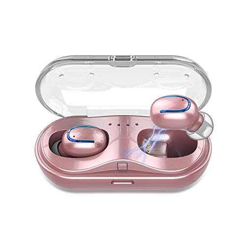 Mini Wireless Earbuds Bluetooth Headphones - Touch Control V5.0 Earpieces Wireless Mini Twins Stereo Sweatproof Sport Earphone Built in Mic Noise Cancelling Headset with Charging Case(Rose Gold)
