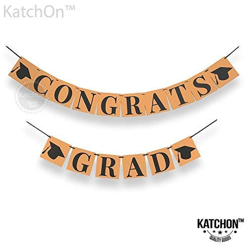 CONGRATS GRAD BANNER DECORATION SIGN -Perfect Graduation Decorations Party Supplies for Grad Party | Classy Kraft Paper Bunting Graduation Banner | Eye-Catching Black Ribbon and Cap -