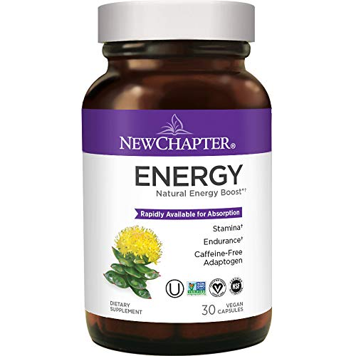 Natural Energy Supplement, New Chapter Energy Supplement with Rhodiola 300 for Stamina & Endurance, Caffeine-Free + Gluten Free – 30ct (1 Month Supply)