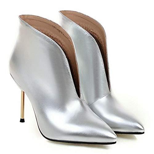 Donne Donne Donne Low Low Low Low Top Moda Silver Scarpe Stiletto Zanpa Stivaletti 1gndw7d6