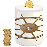 Ships Wheel Decor,Piggy Bank Coin Bank Money Bank,Printed Ceramic Coin Bank Money Box for Cash Saving,Wooden Steering Wheel with Image of Pirate Skull Seaman Lifestyle Oceanic Home