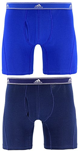 adidas Men's Relaxed Performance Stretch Cotton Boxer Brief Underwear (2-Pack), Bold Blue Collegiate Navy, MEDIUM