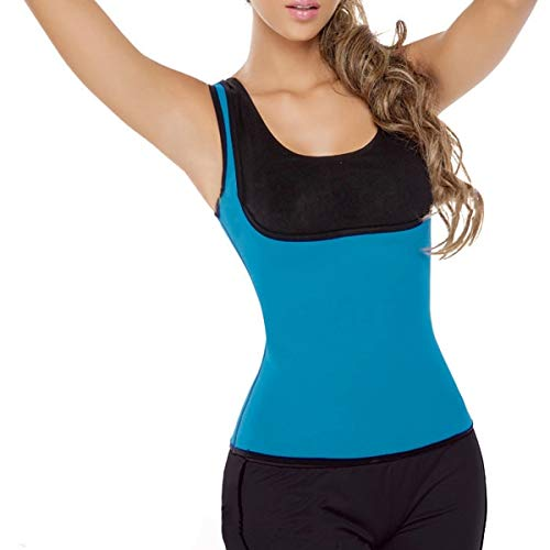 DAVITU Plus Size Men Women Neoprene Sweat Vest Waist Training Sport Hot Shapers Corset Slimming Product - (Color: Blue, Size: Large)