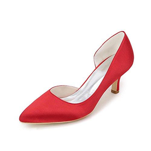 L@YC Tacones altos De Las Mujeres Primavera / Verano / CaíDa abierta De Raso De La Boda De SatéN / Fiesta Y Noche / Vestido Red