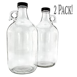 64-Ounce / Half Gallon Clear Glass Kombucha Growler Jugs w/ Black Phenolic Lids (2-Pack); Great for Home Brew, Distilled Water, Cider & More