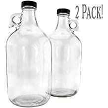 64-Ounce / Half Gallon Clear Glass Kombucha Growler Jugs w/ Polycone Phenolic Lids (2-Pack); Great for Home Brew, Distilled Water, Cider & More