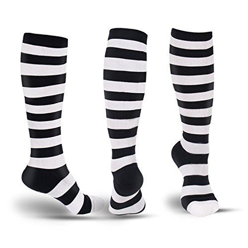 Fashion Compression Socks for Men & Women-Best Fit for Running, Athletic Sports,Nurses, Flight Travel & Maternity Pregnancy-Below Knee High