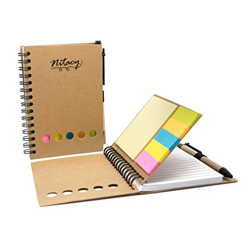 Nitacy Spiral Notebook with Pen in Holder Sticky Notes and Page Marker Colored Index Tabs Flags White Ruled Paper Notepad Journal Brown Kraft Paper Cover, 4.25 x 5.5 Inch, Small by Nitacy