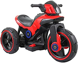 Sandinrayli Red Kids Ride On Motorcycle Trike 6V Toy Battery Powered Electric 3 Wheels Bicycle