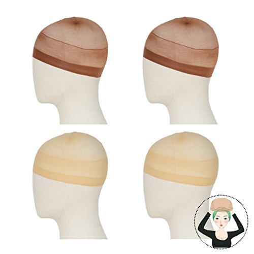REECHO 4 Pack Wig Caps for Women Men One-Size Halloween Costume Cosplay Accessory Stocking Nylon Color: Nude Beige and Dark Brown