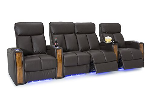 Seatcraft Seville Home Theater Seating Leather Power Recline with SoundShaker, In-arm Storage, Base Lighting, and Lighted Cup Holders (Brown, Row of 4 with Middle Loveseat) For Sale