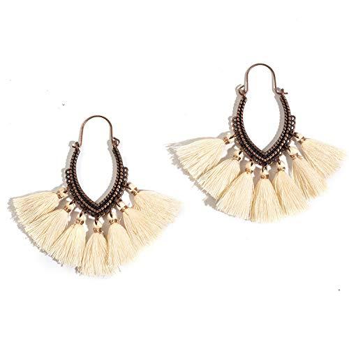 Antique Vintage Boho Bohemian Ethnic Tassel Drop Dangle Hanging Earrings for Women Female 2018 New Trendy Jewelry Accessories,White