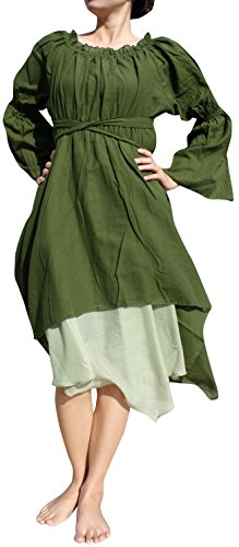 Raan Pah Muang Brand Medieval Serving Wench Cotton Renaissance Dress, X-Large, (Wench Renaissance Clothing)