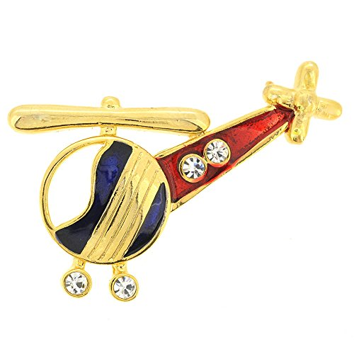 Swarovski Crystal Airplane (Red Blue Helicopter Copter Swarovski Crystal Airplane Brooch Pin)