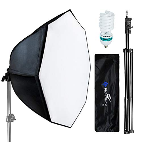 Table Lamp Octagonal - LimoStudio Photography Video Studio Continuous Softbox Lighting Light Kit with Photo CFL 105W Bulb and Octagonal Soft Box, AGG702