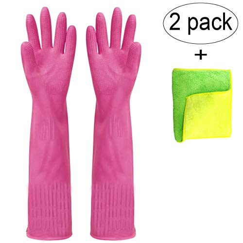 Malier Rubber Cleaning Gloves, 2-Pairs Extended Kitchen Dishwashing Gloves, Waterproof Reusable Household Cleaning Gloves with Cleaning Cloth (Rose Red, Medium)