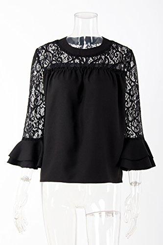Camiseta De Mujer De Manga Larga De Encaje Patchwork Verano Gasa Tops Black
