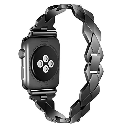 Kwlet Wrist Strap Compatible Apple Watch Band 42mm, Luxury Stainless Steel Wrist Band with Bracelet Clasp for iWatch Series 3 2 1 -