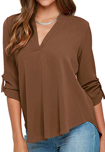 BOFETA Womens Tops Blouses Formal Loose Long Sleeve Pullover Tunic Tshirt Coffee L from BOFETA
