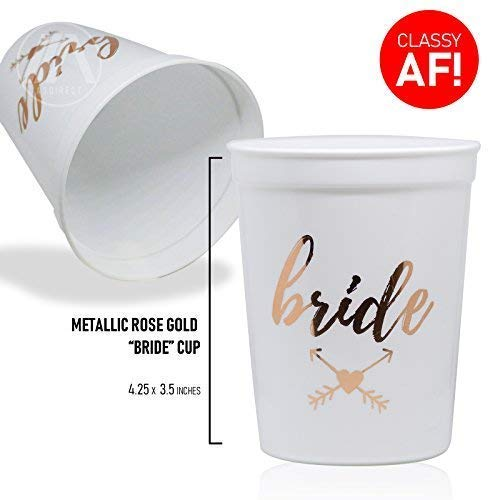 ee1ce3a598d Amazon.com: Bride & Bride Tribe Bachelorette Party Cups | Decoration and  Party Supplies for Bridal Showers | 11 Pack - Rose Gold Bridesmaid Cups:  Health ...