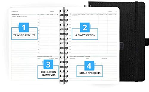 Action Day Planner 2019 - #1 Time Management Planners & You Get Things Done - All Your Thoughts, Goals & Actions in One Place - Weekly, Daily, Monthly, Yearly Journal (6x8, Wire-Bound, Black)