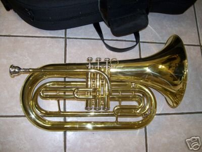 Marching Baritone with hard case and mouthpiece, Brass color by Maestro