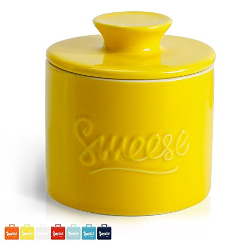 Sweese 3105 Porcelain Butter Keeper Crock - French Butter Dish - No More Hard Butter - Perfect Spreadable Consistency, - Glasses Retro Australia