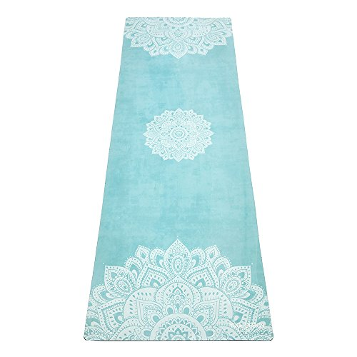YOGA DESIGN LAB The Combo Yoga MAT Eco Luxury Mat/Towel That Grips The More You Sweat | Designed in Bali | Ideal for Hot Yoga, Bikram, Sweaty Practice | w/Strap! (Mandala Turquoise, 70 x 24)