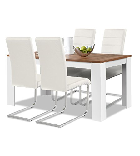 Agionda® Esstisch + Stuhlset : 1 x Esstisch Toledo Nussbaum / Weiss 140 x 90 cm + 4 Freischwinger weiss