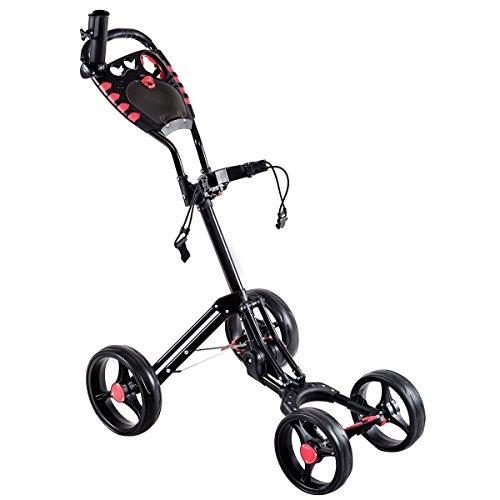Folding 4 Wheels Golf Pull Push Cart Trolley by Apontus
