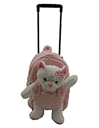 Kreative Kids Plush Wheeled Trolley Backpack With Kitty Cat Pastel Pink