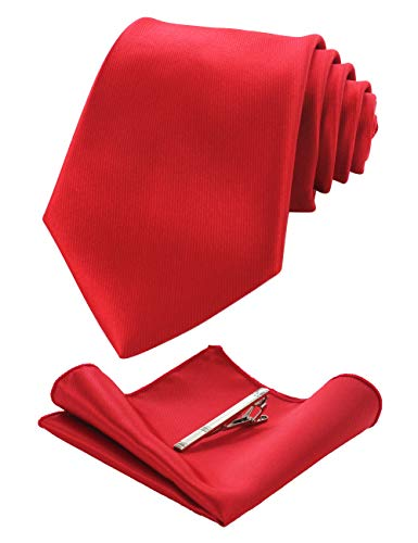 JEMYGINS Mens Formal Red Neck Tie and Pocket Square, Hankerchief and Tie Bar Clip Sets (5)