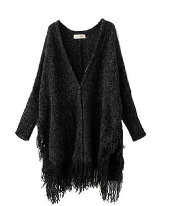 ELLAZHU Women Button Knit Fringed Tassels Batwing Cardigan Sweater Oversized Cape Onesize NL06 (Black)