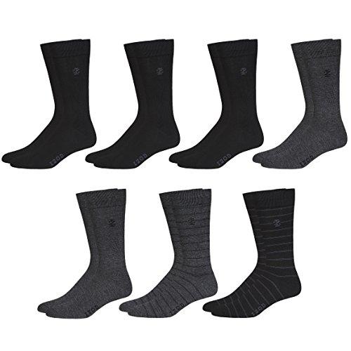 IZOD Mens Moisture Control 7PK Solid Dress Socks Heather Gray/Black Shoe Size: 6-12.5