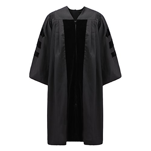 Annhiengrad Unisex Deluxe Doctoral Graduation Gown,Black Fabric and Black Velvet,51 - Doctoral Cap Gown