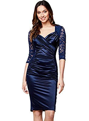 Miusol Women's Deep-V Neck Ruffles Floral Lace Fitted Retro Evening Pencil Dress
