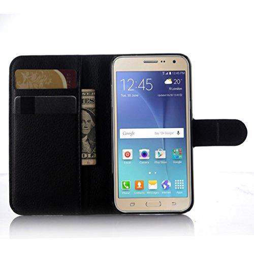 Funda Samsung Galaxy J3(2016),Manyip Caja del teléfono del cuero,Protector de Pantalla de Slim Case Estilo Billetera con Ranuras para Tarjetas, Soporte Plegable, Cierre Magnético(JFC8-16) H