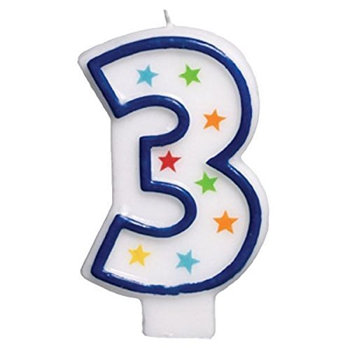 (Amscan Star Studded Flat Molded Number 3 Celebration Candle, White, 3.5 Wax (Two-Pack))