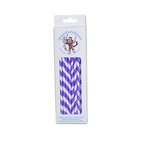 Pack Vintage Paper Straws, Striped, Purple ()